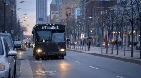 Black Coffee Buses - This Coffee Marketing Stunt Surprises Canadians with a Dark Bus Ride