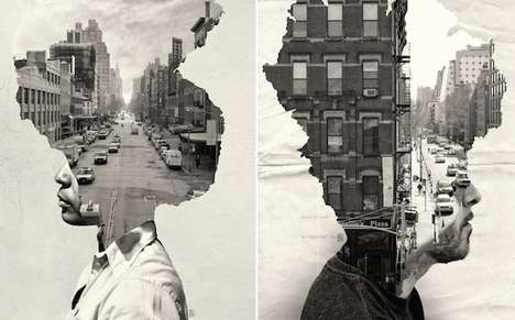 Personified Cityscape Portraits - Andrea Costantini's Photo Manipulation Art Boasts Urban Imagery
