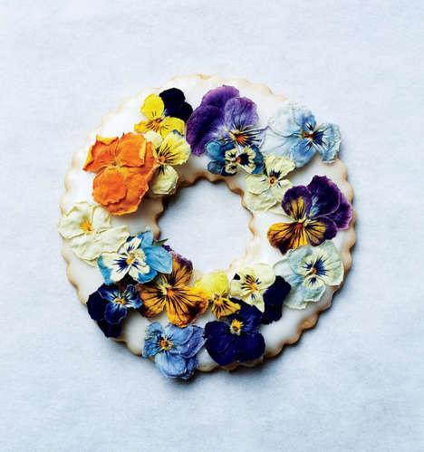 Festive Floral Cookies - The Bon Appetit Lavender Shortbread Wreaths Reinterpret Christmas Desserts