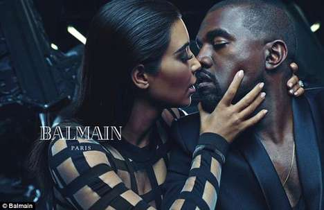 Fashionable Couple Campaigns - The Kim Kardashian and Kanye West Balmain Ad is Glamourously Edgy