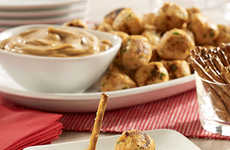 Bite-Sized Chicken Pops - This Chicken Appetizer is Served with a Spicy, Nutty Dipping Sauce