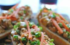 Nutty Open-Faced Sandwiches - This Thai Sandwich Features Crunchy and Spicy Toppings
