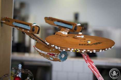 Holiday Spaceship Desserts - The Gingerbread Star Trek Enterprise Features a Candy Cane Laser Beam