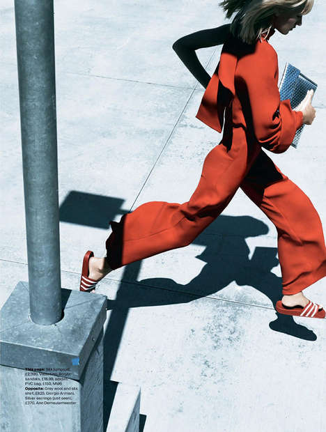 Haute Hurried Editorials - The Elle UK New Rising Power Photoshoot Depicts on the Go Poses