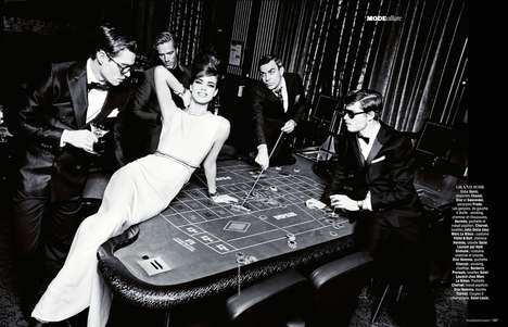Glamorous Gambling Editorials - The Madame Figaro Nuit Blanche Photoshoot Features Casino Scenes