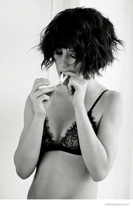 Rebellious Lingerie Photoshoots - The Esquire Magazine Evangeline Lilly Editorial is Unruly and Chic