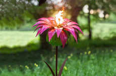 Flaming Flower Torches - The Desert Steel Garden Torches are Functional and Eye-Catching