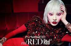 Crimson Cosmetic Campaigns - The M.A.C. Red Holiday Advertisements Feature Consistent Shades