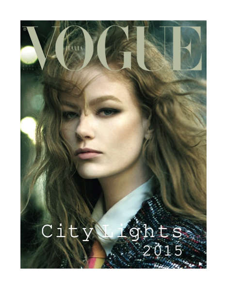 Illuminated Urbanite Covers - The Latest Vogue Italia Steven Meisel Photoshoot Shows City Lights