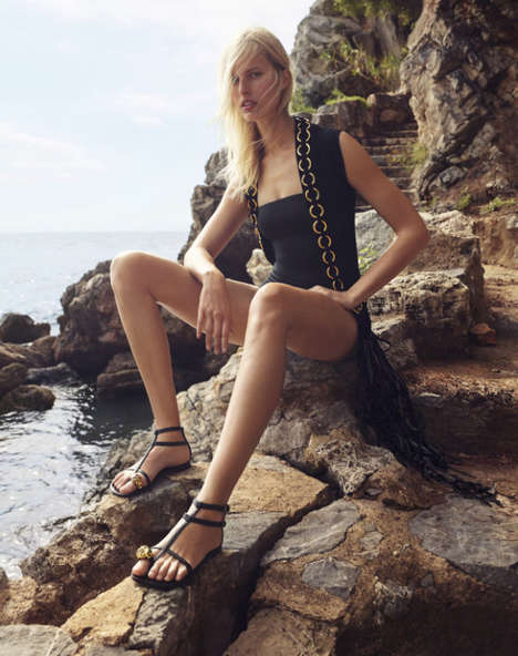 Beachy Castaway Editorials - Supermodel Karolina Kurkova is the New Face of Giuseppe Zanotti Design