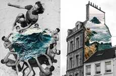 Layered Topography Compositions - These Vintage Photo Collages by Merve Ozaslan are Nature-Themed