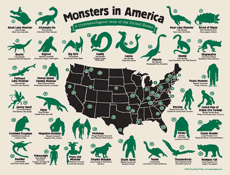 Typographical Monster Maps - This Monsters in America Chart Chronicles Where Popular Ghouls Live