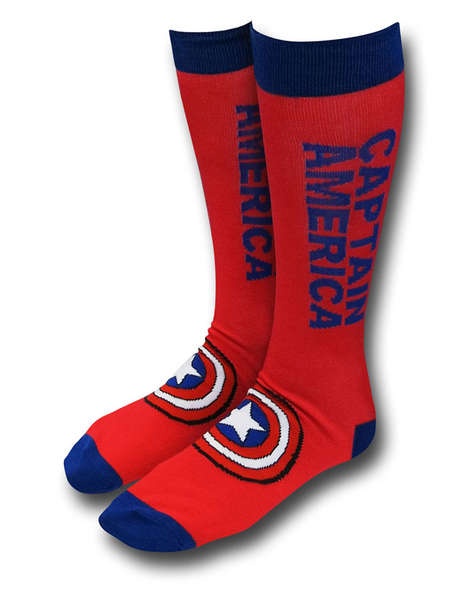 Patriotic Superhero Socks - These Captain America Footwear Accessories are Ideal for Comic Book Fans