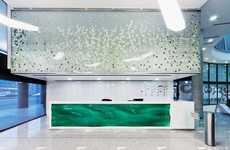 Illusory Aqueous Desks - The EMKE Office Reception Features a Whimsical Watery Bureau