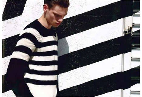 Layered Stripe Editorials - Filip Hrivnak Stars in Milan Vukmirovic's Monochromatic Fashion Story