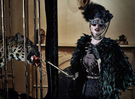 Villainous Couture Editorials - Lara Stone Poses With Jungle Animals for Vogue Italia's Latest Story