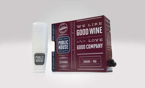Shareable Boxed Wines - Public House's Wine Kit Includes Cups for a Group Gathering