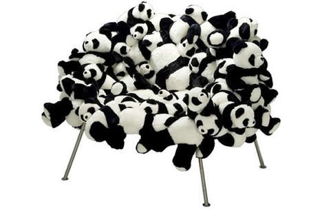Stuffed Panda Seating - The Panda Banquete is a Unique Chair Made of Stuffed Animals
