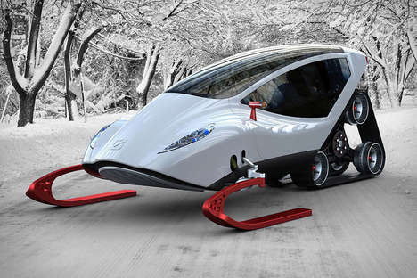 Enclosed Snowmobiles - The Snow Crawler is a Futuristic Concept Powered by an Electric Drive System