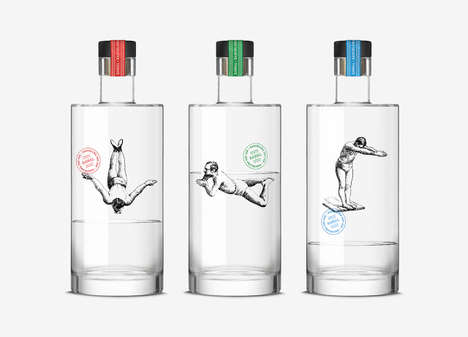 Gin Diver Bottles - This Alcohol Bottle Features Illustrations That Play with the Liquid Inside