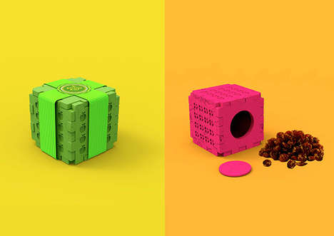 Playful Snack Blocks - Varvara Komarova's Snack Packaging Concept Doubles as a Toy for Kids