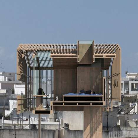 Slatted Rooftop Cabins - The Detached Cabin is Intended For an Athens Rooftop