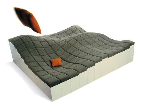 Undulating Modular Couches - This Wavy Sofa is Assembled from a Hilly Surface of Multi-Height Blocks