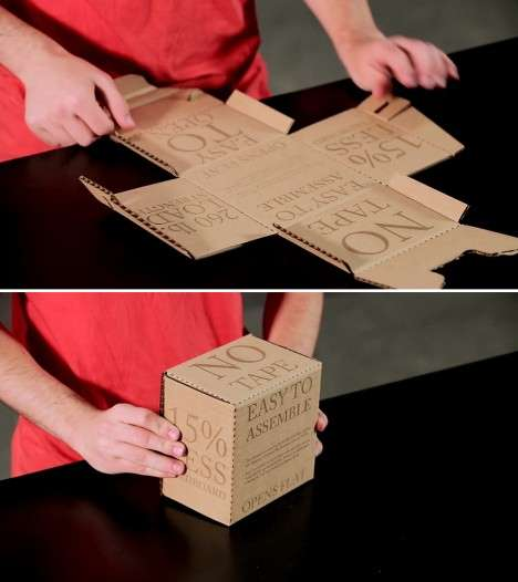 Quick Assembly Boxes - This Smart Cardboard Box Design Uses 15% Less Material and No Tape