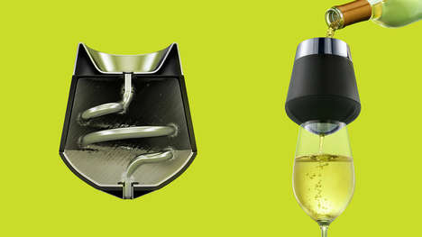 Cooling Wine Cups - This Wine Aerator and Chiller Pours the Perfect Glass Pinot in No Time