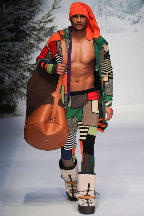 Flamboyant Alpine Apparel - The Latest Moschino Menswear Collection is Eccentrically Vibrant