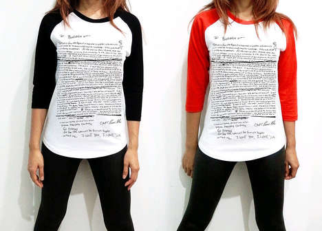 Controversial Self-Slaughter Tees - The Kurt Cobain Suicide Note Makes a Terrible Fashion Statement