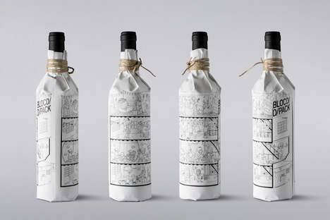 Illustrated Wine Bottle Wraps - BLOCD/ Promotional Packaging Pictures the Entire Design Team
