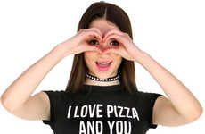 Romantic Pizza Tees - Shop Jeen's I Love Pizza and You T-Shirt Celebrates Greasy Snacking