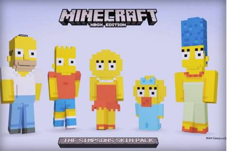 Pop Culture Video Games - The Simpsons Minecraft Skin Pack Introduces Familiar Cartoon Characters