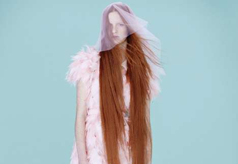 Red-Haired Rapunzel Editorials - Harper's Bazaar China's Fifty Shades of Pink Story is Visually Bold