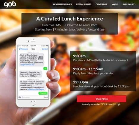 SMS Lunch Services - Toronto's Gob is a Service That Lets You Order Lunch by Text Message
