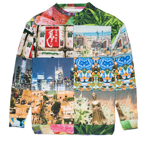 Travel Photography Apparel - Smooooth Clothing's Printed Athletic Sweater Features Collaged Imagery