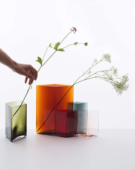Diamond-Shaped Flower Holders - The Ruutu Vase Collection is Comprised of Soft Watercolor Hues
