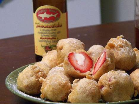 Cheesecake-Stuffed Strawberries - The Stuffed Fruit is Also Amazingly Deep Fried in Beer Batter