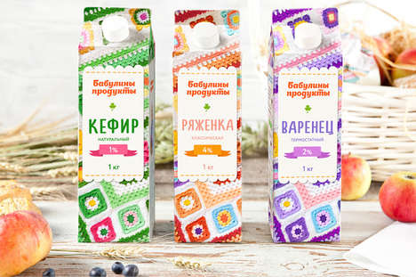 Crocheted Carton Branding - This Milk Carton Packaging Takes Inspiration from Granny's Crafts