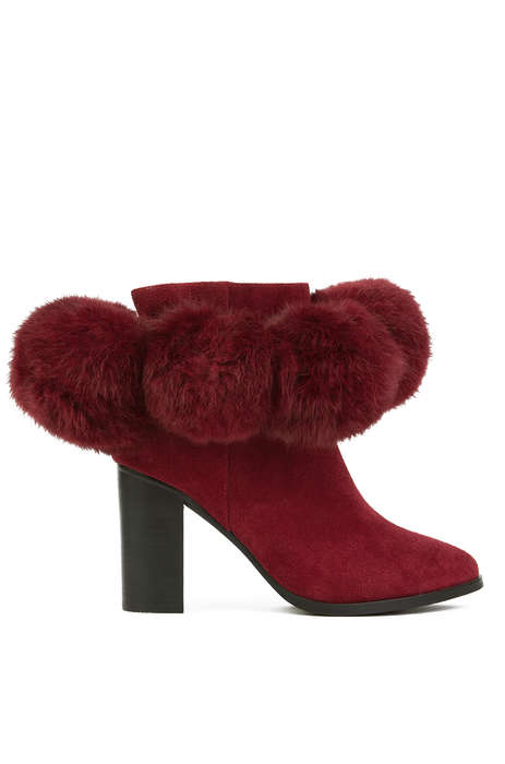 Textured Pom Pom Booties - These Wine Colored Ankle Boots by YES Are Chic and Weather-Appropriate