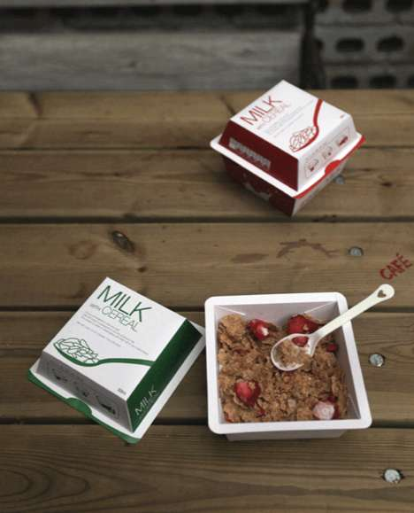 Complete Cereal Packaging - This Packaging Concept Combines Milk and Cereal in a Clever Way
