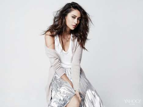 Casually Chic Editorials - Actress Shay Mitchell Poses for Yahoo! Style's Latest Fashion Feature