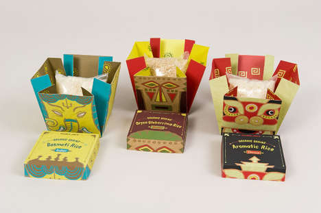 Expanding Grain Packaging - Trader Joe's Rice Container Concepts are Boldly Branded and Boxed