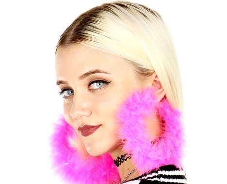Fur-Trimmed Hoop Earrings
