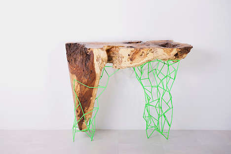 Contemporary Composite Consoles - Millennial Tables Pair Lumber Debris with Elaborate Metal Frames