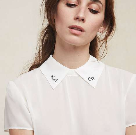 Offensive Collar Embellishments - The F*ck Off Top by Reformation Speaks to Space Invaders