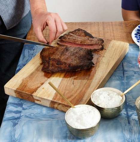 Homemade Gourmet Meats - The Marinated Flank Steak is Served with Two Sauces