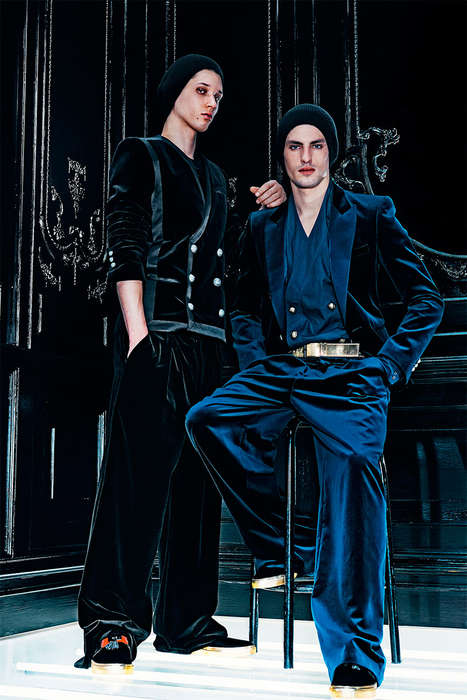 Lavish Menswear Marketing - The Latest Balmain Campaign Mixes Velvet and Sequin Textures