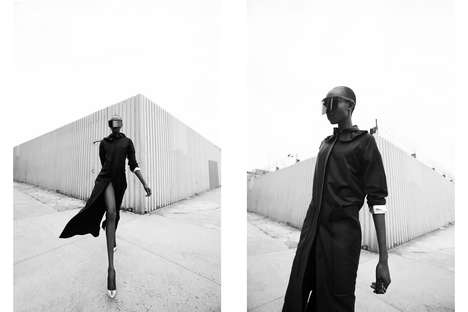 Futuristic Alley Editorials - Glassbook Magazine's Mantis Story Boasts Black and White Photography